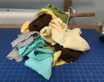 Assorted terry cloth fabric scraps, medium flat rate box STUFFED FULL