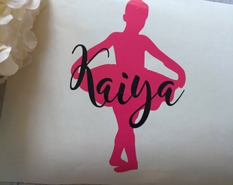 Personalized ballerina decal, young ballerina decal, laptop decal, vinyl decal, mug deca, water bottle decal, mirror decal, car decal