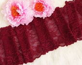 """1 YD Dusty Ruby 8"""" Stretch Lace for Bramaking Lingerie"""