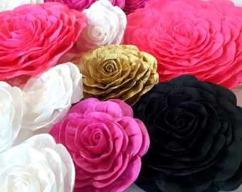 12 Giant large Paper flowers kate baby spade bridal shower backdropwedding sweet 16 wall Gatsby hot pink gold White black nursery party