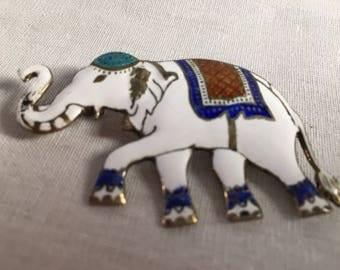 Vintage Siam Enameled Elephant Pin