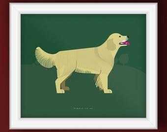 Golden Retriever Dog Portrait (Illustrative Poster)