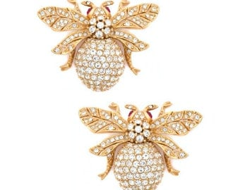 Ciner NY 24kt Plated 100th Anniversary Bee Earrings (Pierced)