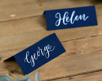 Calligraphy Place Cards for Weddings & Parties - Navy