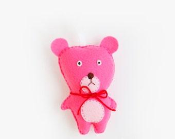 Pink Bear Felt Ornament, Animal Felt Ornament, Holiday Gift Tag, Gift Topper, Teddy Bear Plush, Stuffed Felt Toy, Nursery Decor, Keepsake
