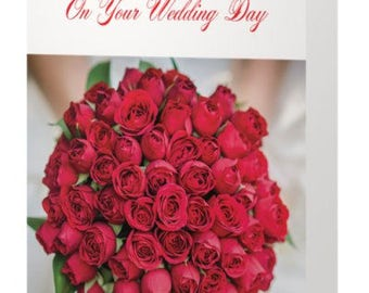 Wedding-Greeting Card-Congratulations on Your Wedding Day-Bride-Red-Red Roses-Wedding Day Greetings