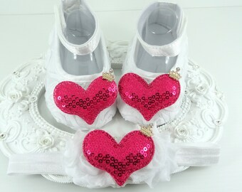 Baby Girl Shoe Headband Set, Newborn Baby Girl Shoes, Baby Accessories, Shower Gift, Gift for Baby