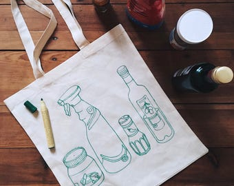 hand-drawn grocery bag