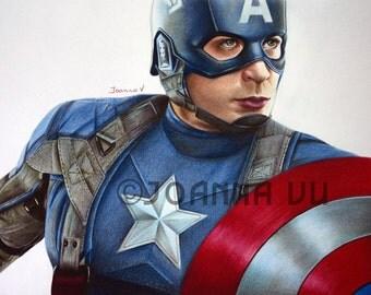 Chris Evans/Captain America Original Fine Art Colored Pencil Drawing