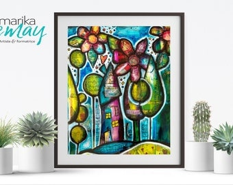Giclee print My little house in the forest by Marika Lemay mixed media artist flowers nature turquoise red