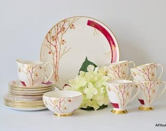 Art Deco Tea Set, Hand Painted Tea Set, Peerless China, Sneddon & Sons Ltd, Exclusive China, Vintage Wedding China, Vintage China Gift, 1930