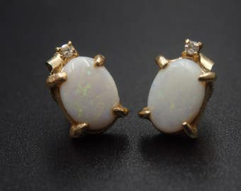 Vintage opal and diamond earrings