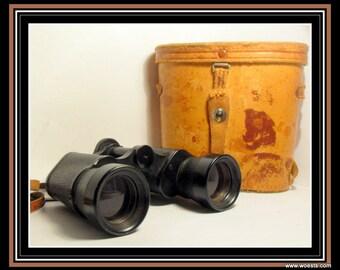 Vintage Kowa Lupinus - coated optics - 6.5 7x35 binoculars in leather case. Made in Japan..serial number 53686. Japanese optical instrument.