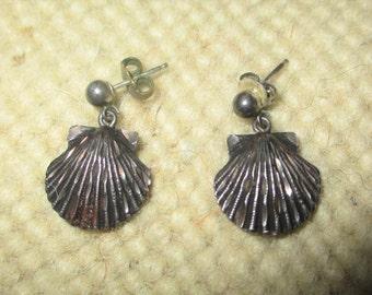 Vintage Sterling Silver Seashell Earrings Signed ATOCHA 1622 Sea Shell Nautical Beach Jewelry