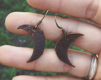brown leather crescent moon earrings