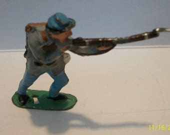 """Civil War Confederate Army Diecast Hand Painted Soldier Gray Coat Blue Pants, Lots of Paint Chipping 2"""" tall"""