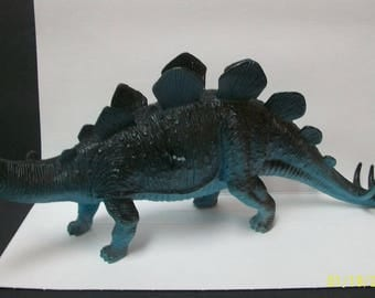 "Vintage Stegosaurus Blue And Black Hard Plastic Dinosaur 13"" Long -  Great For Kid's Science Or Nature Projects"