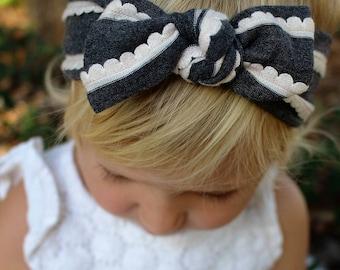 gray and white ruffle top knot headband