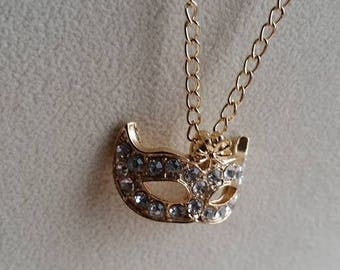 Mask Pendant, Mask Necklace, Masquerade Necklace, Carnival Mask, Gold Mask, Rhinestone Mask, Theratre Gift, Acting Gift,