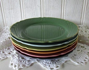 French Colourful Tea Plates