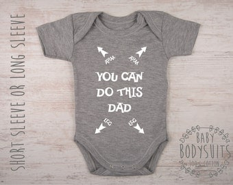 Baby Shower Gift, Funny Gift For New Dad, First Time Dad Gift, Funny Baby Shower Gift, Baby Shower Idea, You Can DO THIS DAD Gray Bodysuit
