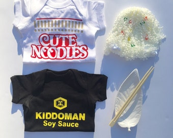 Ramen Soup Combo Deal: Ramen and Soy Sauce Outfit Set with Hats, Unique Baby Outfit Combo, Baby Gift Combo,