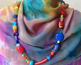 Necklace Multi Coloured Glassbeads
