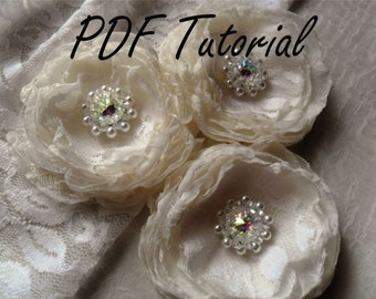 Melissa - Crystal brooch component Wedding decoration Fabric flower bouquet component Tutorial Cake topper Hair pin applique Beading pattern