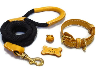 Rope Dog Leash, Solid Cord Rope leash 8mm with leather wrappping on hand grip, Strong (Made To Order)