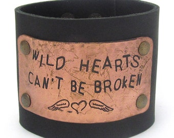Wild Hearts Can't Be Broken Wide Faux Leather Snap Bracelet