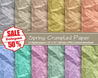 """SALE 5O% """" Spring Crumpled Paper """" Digital Paper, Scrapbook, Paper, 12x12, Printable, Crumpled, Pattern, Crumple,Texture,Background,Download"""