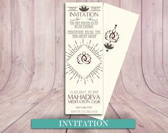 Yoga Minimalist Ticket Invitation, Yoga Day, Yoga Party, Yoga Ticket Invitation., Yoga Birthday Party