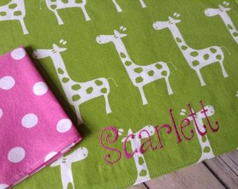 Monogrammed Kids Placemat, Lunchbox Napkin Placemat, Giraffe Placemat
