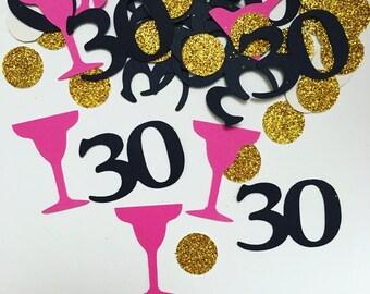 30 confetti . Dirty 30 confetti . 30th birthday party decoration . 30 party decor . 30 die cuts . Embellishment . Martini glass confetti .