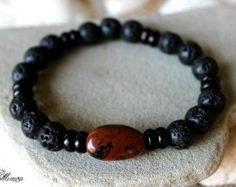 Lava Bracelet, Mahogany Obsidian Bracelet, Obsidian Bracelet, Men's Lava Bracelet, Men's Obsidian Bracelet, Obsidian Mala, Men's Wrist Mala