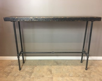 entry table wood console table reclaimed wood hairpin legs. Black Bedroom Furniture Sets. Home Design Ideas