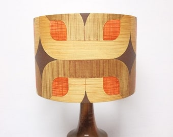 Retro Lampshade, Original 60s/70s Paper, Brown, Red, Orange, Vintage