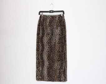 VTG 90s Cheetah Print Fuzzy High Waist Long Rave Clubkid Skirt S