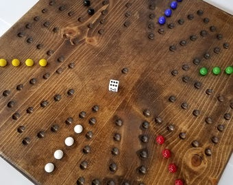 4/6 Players Double Sided Soild Wood Wahoo/Aggravation Board Game