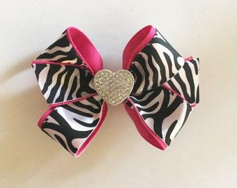 Zebra hair bow, girls hair bow, baby hair bow, toddler bow, white layered bow, zebra bow, bling bow, double bow, medium bow, satin bow