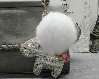 White Bling Horse Keychain Purse Charms White Pom Pom Fur Ball Cute Unique Key chains-Handcraft Handbag charms-Sparkle Bag Charm