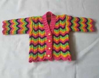 Hand-knitted striped garter stitch baby cardigan
