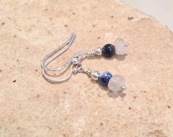 Blue dangle earrings, sodalite earrings, moonstone earrings, silver dangle earrings, silver drop earrings, sundance style earrings