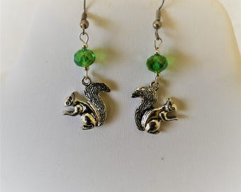 Squirrel Silver Tone And Crystal Earrings