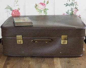 Vintage  Suitcase, Brown, lovely to use for storage. Retro, shabby chic, vintage luggage, Old Suitcase.