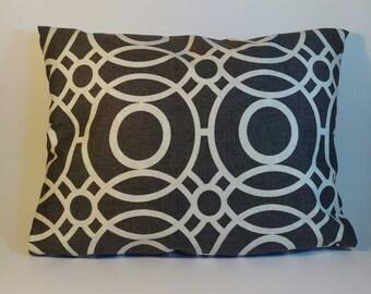Handmade CLARKE AND CLARKE cotton rectangular cushion in a charcoal geometric design fabric