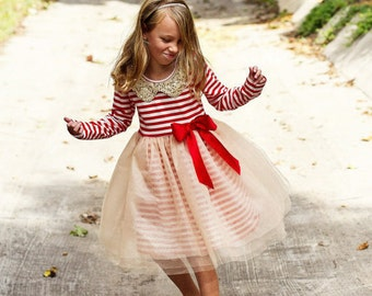 READY to SHIP Girls Christmas dress,red girls christmas dress,stripe christmas dress,red christmas dress,baby Christmas dress