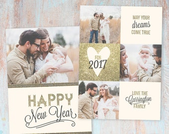 New Year Card - Gold Glitter- Photoshop template - AL002 - INSTANT DOWNLOAD