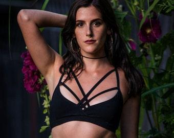 Sexy Strappy Jersey Bralette - Jersey Bralette with Decorative Strapes - Model and Organic cotton Jersey - Black Bralette - Eco Fashion