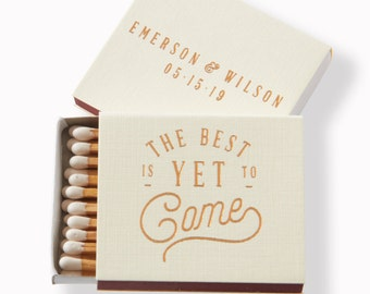 The Best Is Yet To Come Matchboxes - Wedding Favor, Wedding Matches, Wedding Decor, Personalized Matches, Custom Matchboxes, Match Box Favor